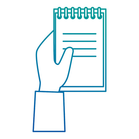 hand with notebook school isolated icon vector illustration design