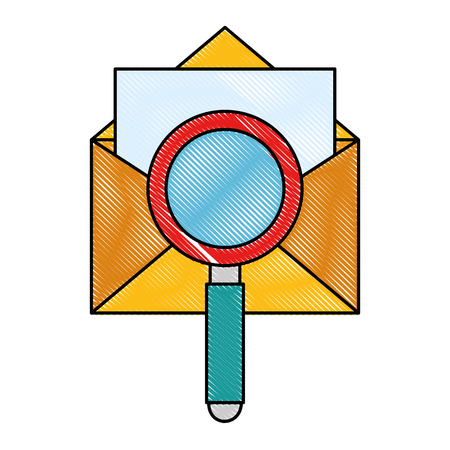 envelope mail with magnifying glass vector illustration design