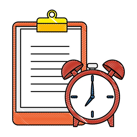 alarm clock time with statistic in clipboard vector illustration design