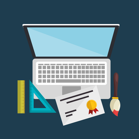 laptop computer with easy learning icons vector illustration design Çizim