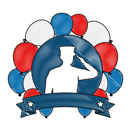 silhouette of military saluting with balloons air vector illustration design