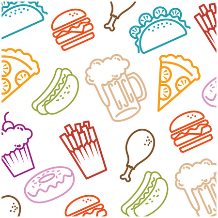 delicious fast food pattern background vector illustration design Stock Illustratie