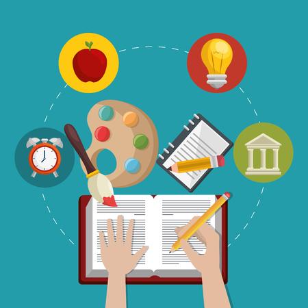 education easy learning set icons vector illustration design Stock fotó - 100719191
