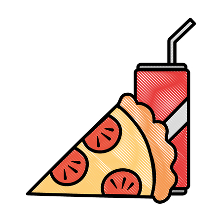 delicious italian pizza with soda vector illustration design