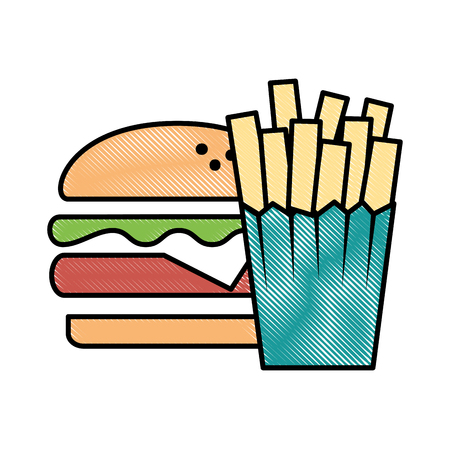 Delicious burger with french fries Ilustracja
