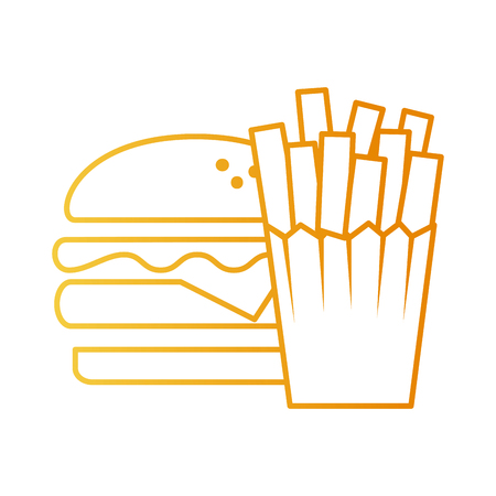 delicious burger with french fries vector illustration design