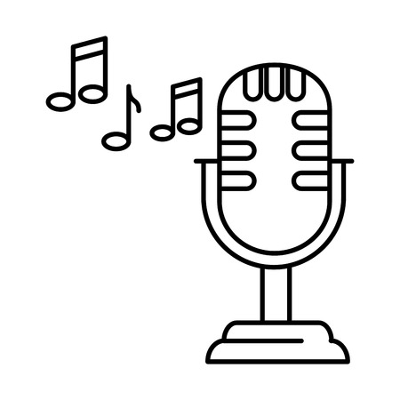 retro microphone with musical notes vector illustration design Illustration