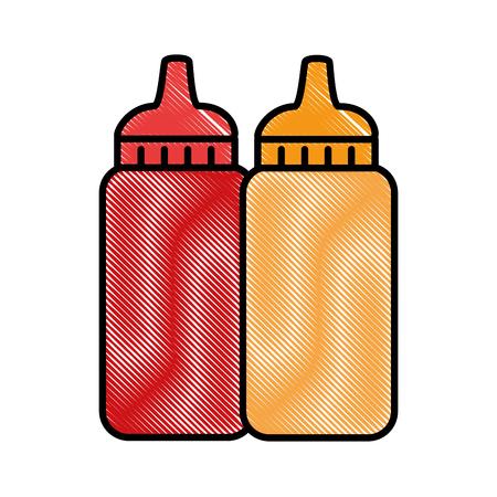 sauce bottles plastic icon vector illustration design Imagens - 100621343
