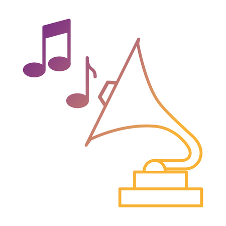 phonograph retro music with notes vector illustration design