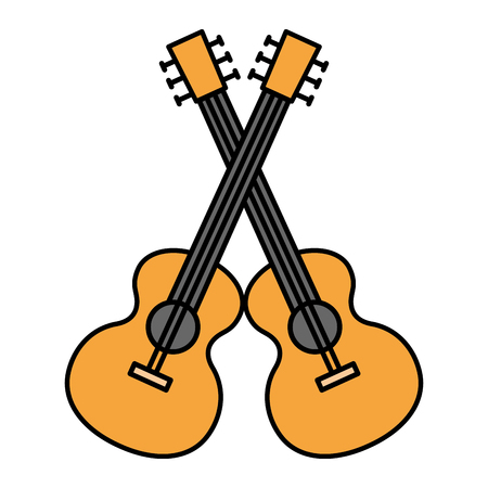 acoustic guitars crossed musical instrument vector illustration design