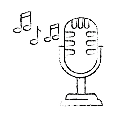 retro microphone with musical notes vector illustration design Ilustrace