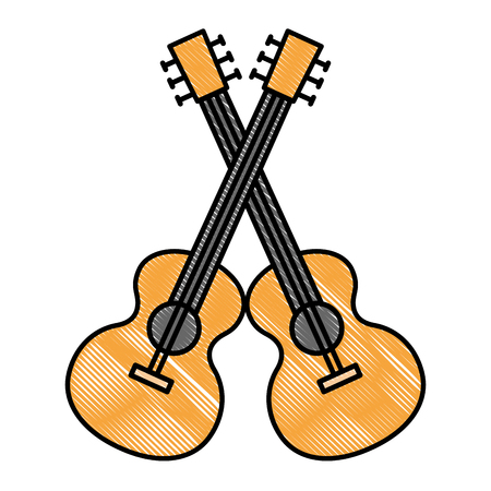 acoustic guitars crossed musical instrument vector illustration design