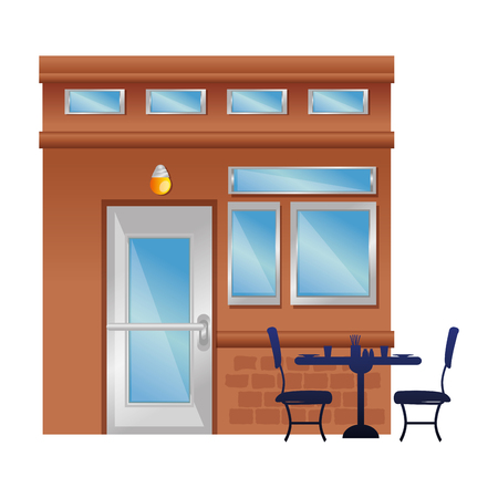restaurant building front facade vector illustration design