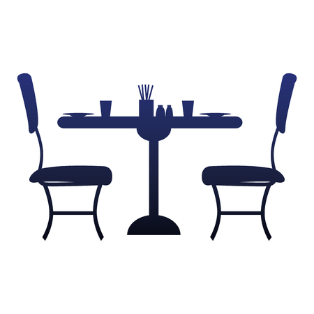 restaurant table and chairs icons vector illustration design 向量圖像