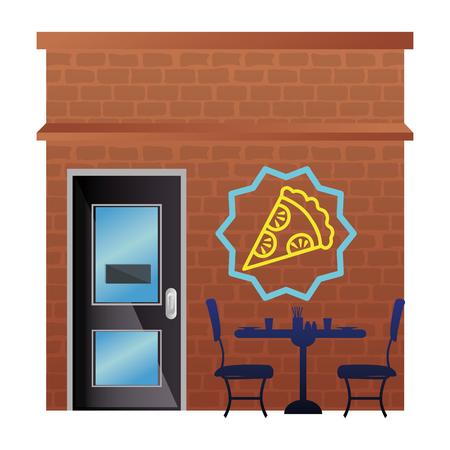 italian restaurant with pizza label front facade vector illustration design