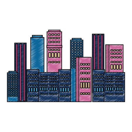 cityscape buildings scene icon vector illustration design