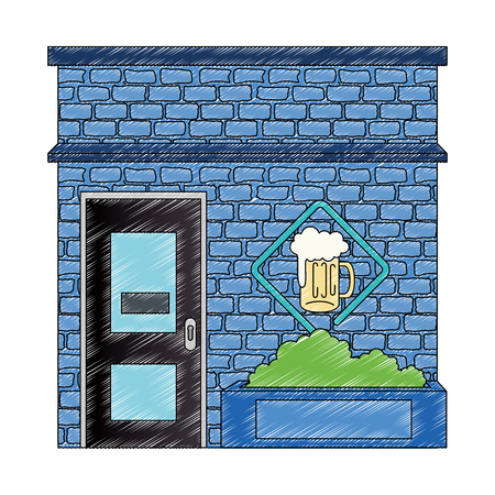 night club with beer front facade vector illustration design Stock Illustratie