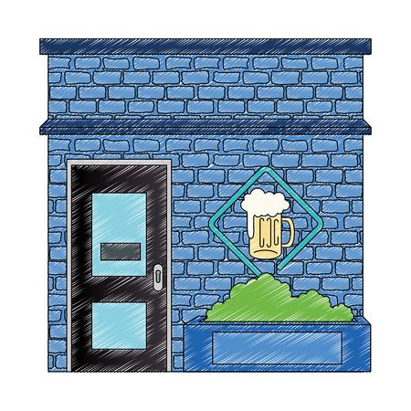 night club with beer front facade vector illustration design Ilustração