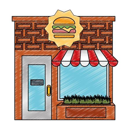 restaurant fast food building front facade vector illustration design