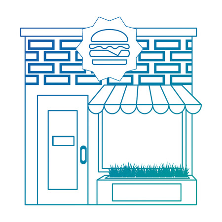 restaurant fast food building front facade vector illustration design