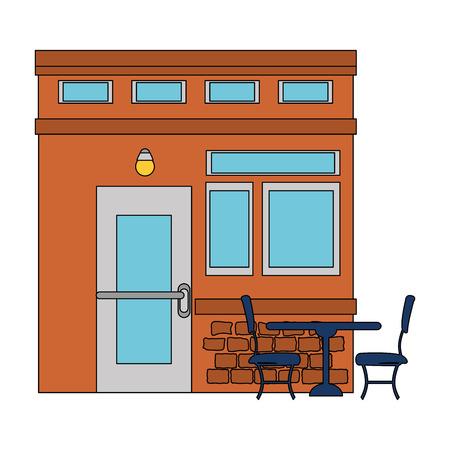 restaurant building front facade vector illustration design