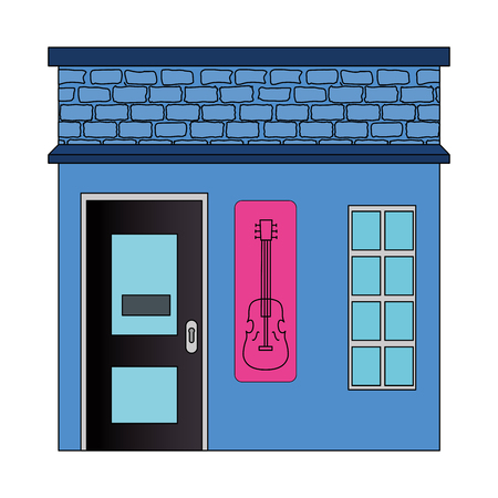 night club with guitar front facade vector illustration design