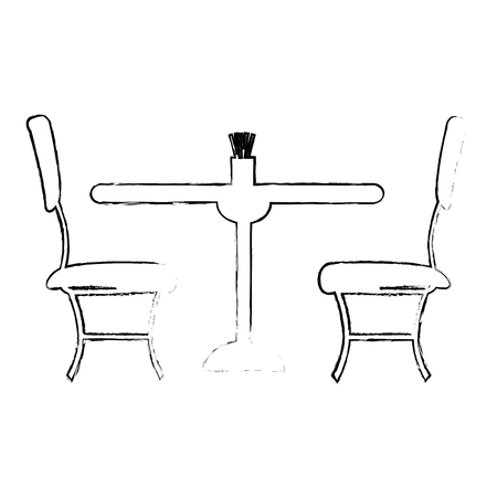 restaurant table and chairs icons vector illustration design Çizim