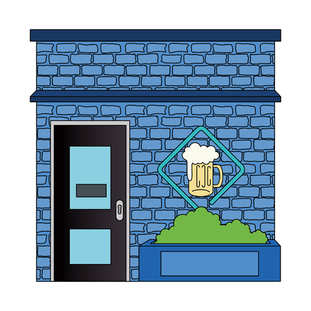 night club with beer front facade vector illustration design Ilustracja
