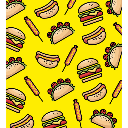 delicious fast food pattern background vector illustration design Standard-Bild - 100639828
