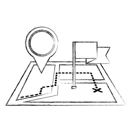 gps navigation flag pointer city place mark vector illustration sketch