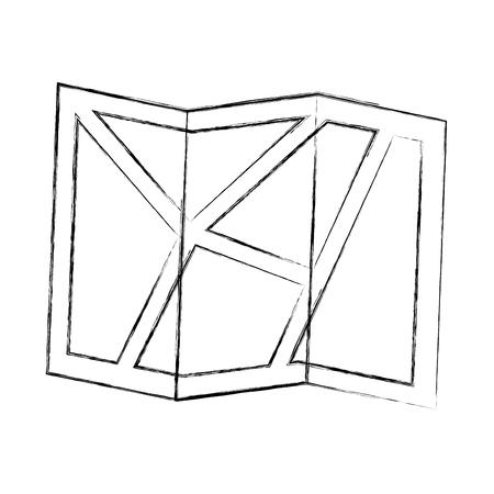gps navigation folded map geo location vector illustration sketch Foto de archivo - 100658652