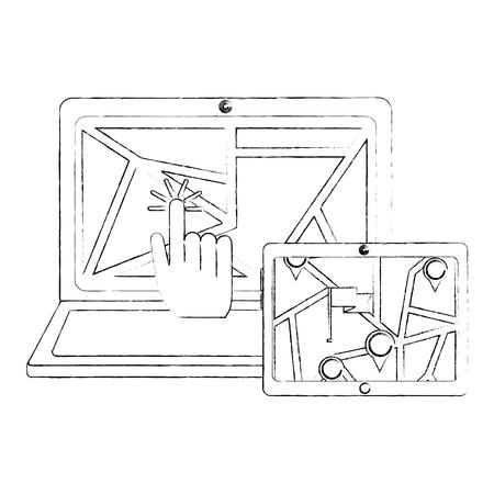 gps navigation map on screen laptop mobile click find vector illustration sketch