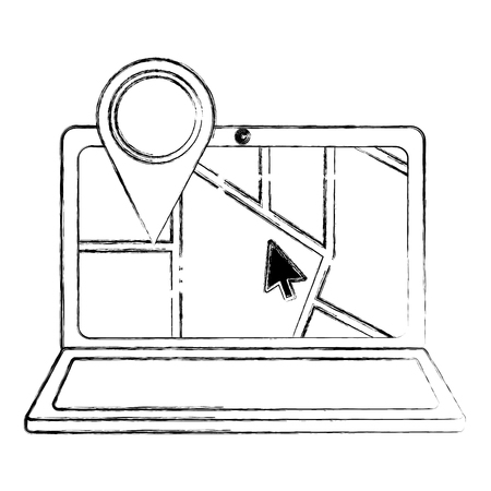 gps navigation laptop web app cursor pointer map vector illustration sketch Illustration