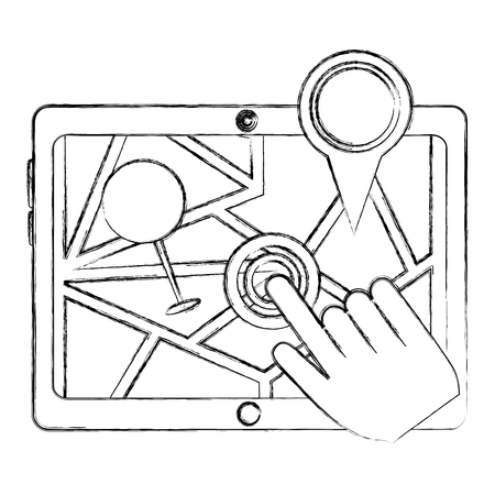 hand clicking screen tablet pc pointer map gps navigation vector illustration sketch