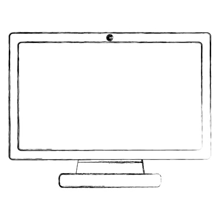 monitor computer device wireless technology vector illustration sketch