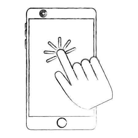smartphone with hand click cursor on screen vector illustration sketch