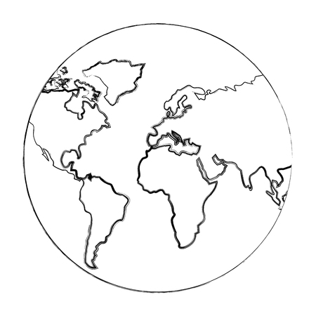 globe map world location geography vector illustration sketch
