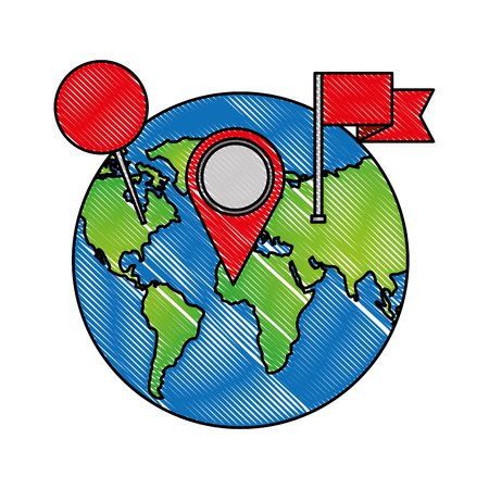 world planet with pin location and flag vector illustration design Illustration