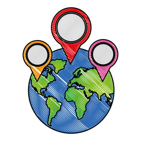 world planet with pins locations vector illustration design