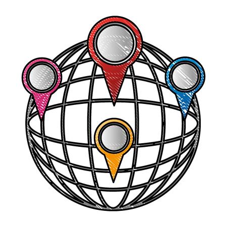 sphere planet with pins locations vector illustration design Banco de Imagens - 100707981
