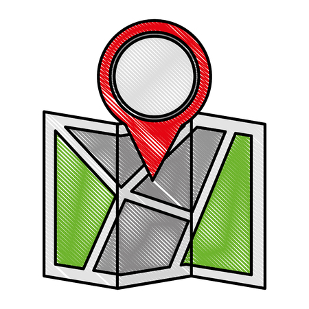 paper map guide with pin location vector illustration design