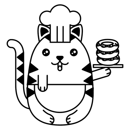 cute cat chef with delicious donuts character vector illustration design