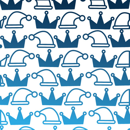king crown with hat christmas pattern vector illustration design