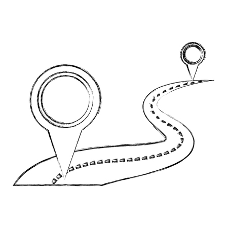way road with location pins vector illustration design