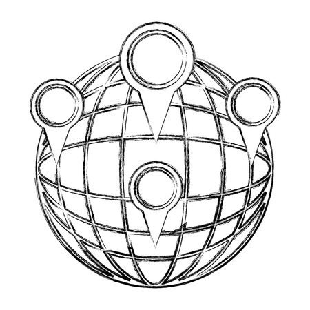 sphere planet with pins locations vector illustration design Ilustração