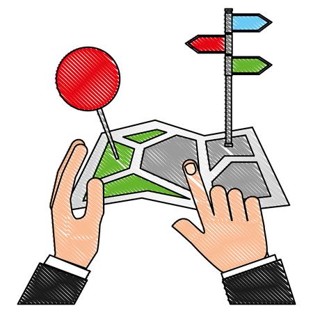 paper map navigation in hands pointing place vector illustration Illustration