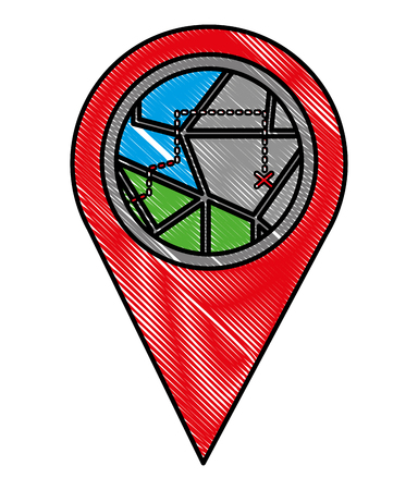 gps navigation pointer map route vector illustration Vectores
