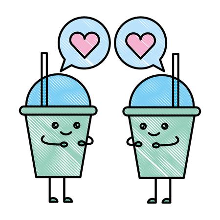 kawaii paper coffee cup speech bubble love cartoon vector illustration