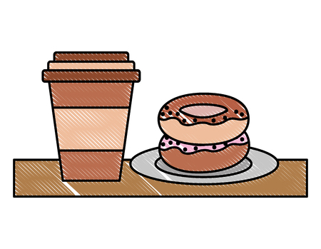paper coffee cup and sweets donut on dish vector illustration Standard-Bild - 100907185