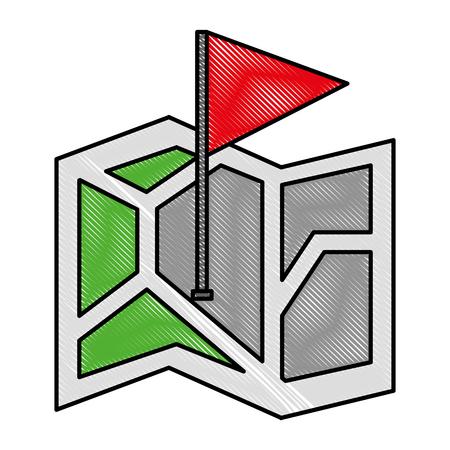 gps navigation folded map flag pointer location vector illustration